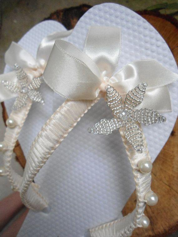 Bridal Flip Flops Ivory bridal flip flops