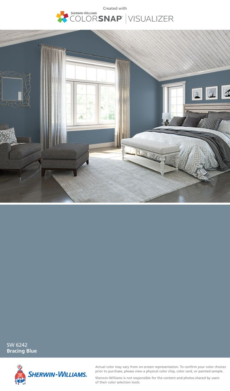 Blue bedroom design ideas - Sherwin Williams Sea Salt Sw This Turns More Blue Gray In The Main Bath But I Like It The Longer That Swatch Of Color Stays Up On The Wall