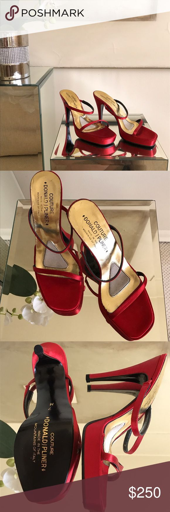 Donald J Pliner Couture high heel evening sandals Ladies, these are gorgeous never worn strappy high heel evening sandals from Donald Pliner couture collection. Red silk satin made in Italy size IT 37/US 7.  Perfect for a fabulous black tie summer evening. No trades. Thank you! Donald J. Pliner Shoes Sandals