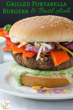 Grilled Portabella Burgers & Basil Aioli   Garlic + Zest