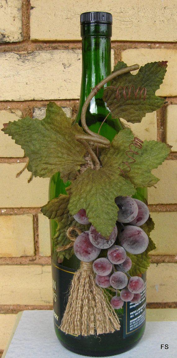 Wine bottle decoration grape kitchen decor by for Buy grape vines for crafts