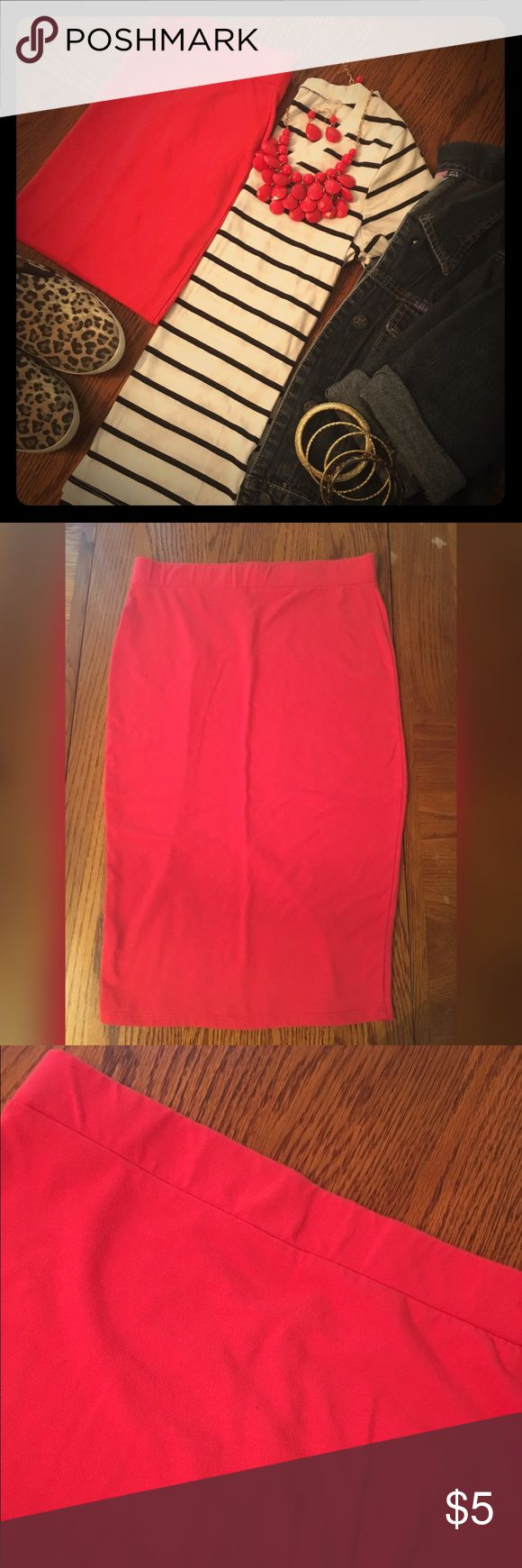Red Pencil Skirt Cute red knee length pencil skirt. Can dress this up for work or in the go. In excellent used condition with no signs of rips or stains. Skirts Pencil