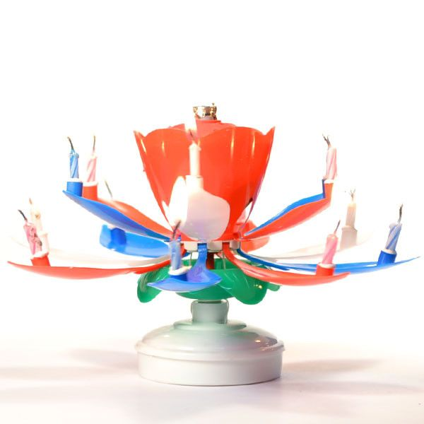 Lotus Birthday Candle Red White Blue