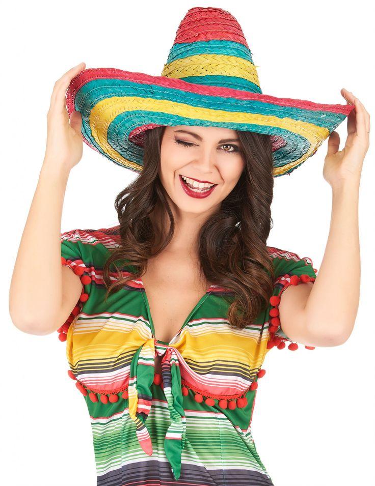 Sombrero rosso, verde e giallo per adulto-1