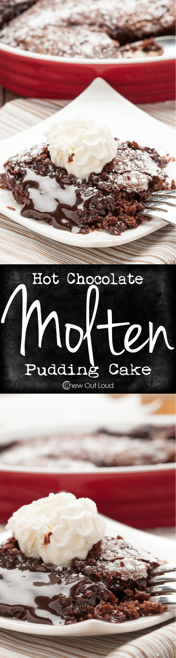 For all the Chocoholics in the world. This Molten Chocolate Pudding Cake is a dream come true. Easy and nothing artificial. #dessert #recipe