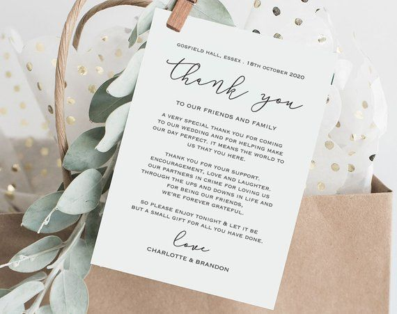 Diy Thank You Card Template Wedding Thank You Cards Etsy Wedding Thank You Cards Wedding Itinerary Printable Thank You Cards