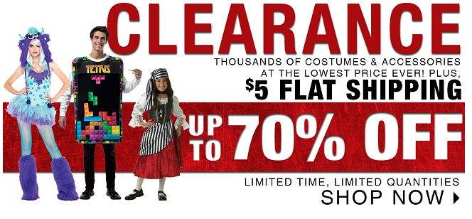 BuyCostumes 70% OFF Halloween Clearance plus 15% OFF!