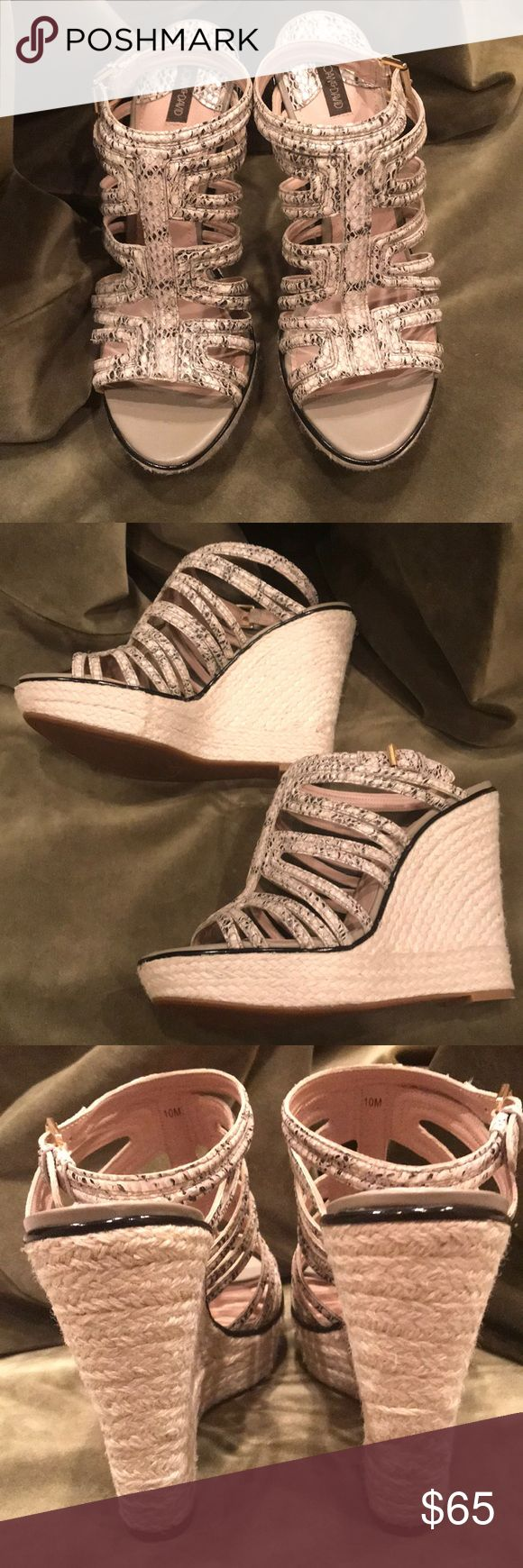 "Snakeskin Joan & David wedges. Size 10M. Beautiful Ivory and Black colored snakeskin wedges. 5""heel. Wore 1 time! Immaculate condition. Fit true to size. Joan & David Shoes Wedges"