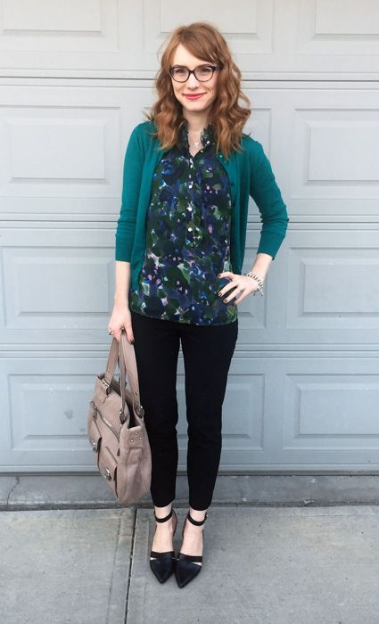 Turquoise cardigan with blouse and black pants, love the colors here. - ghost of jobs past via Blue Collar Red Lipstick professional dressy