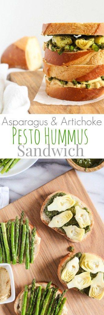 Asparagus Artichoke Pesto Hummus Sandwich - pumpkinandpeanutbutter