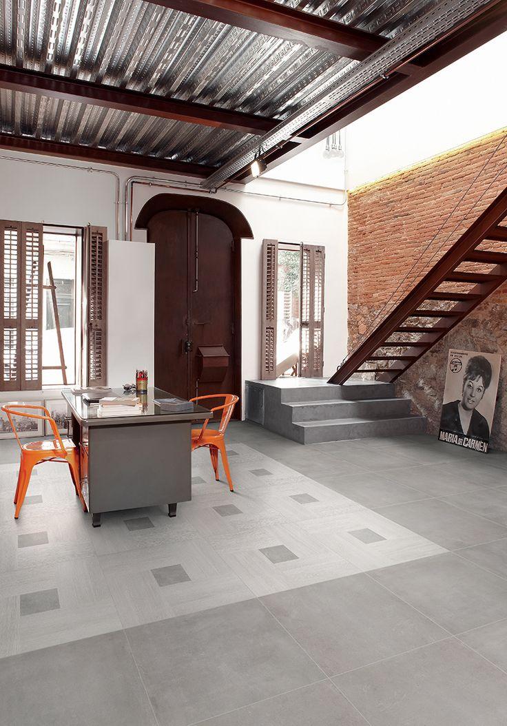 Tile on photo: FIORANESE_Inside 60_Light-Grigio-60x60+Blend_Concrete Grigio-60x60. For more info please log on to our website www.arabuild.ae