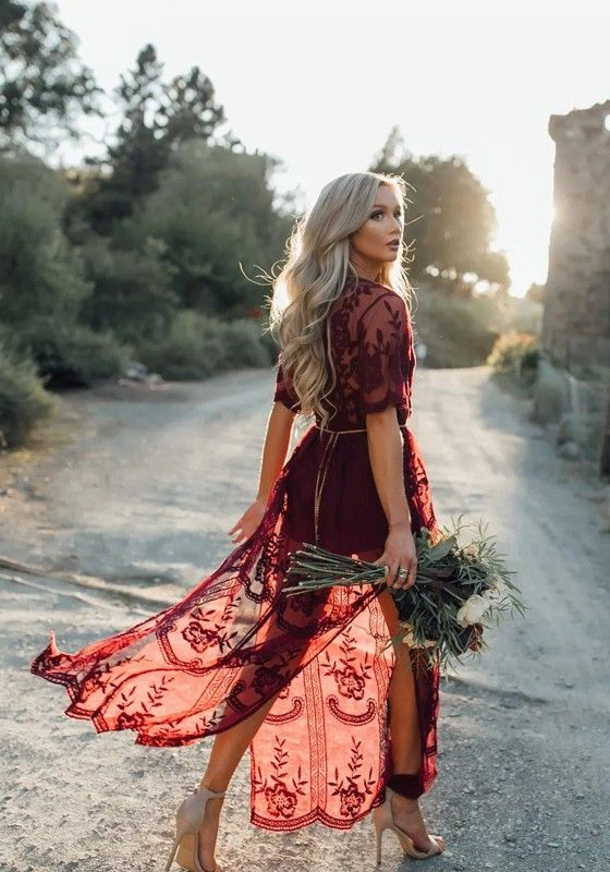Wine Red Floral Chain Lace Flowy Side Slit Maxi Dress