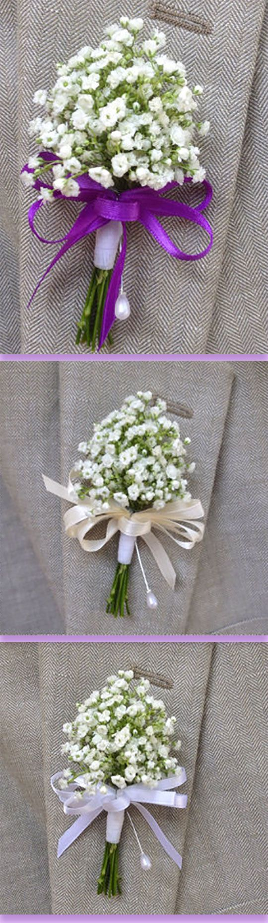 Baby's breath makes these boutonnieres both rustic and elegant. She will use whatever ribbon color you want. Scroll to number 19 on the page.