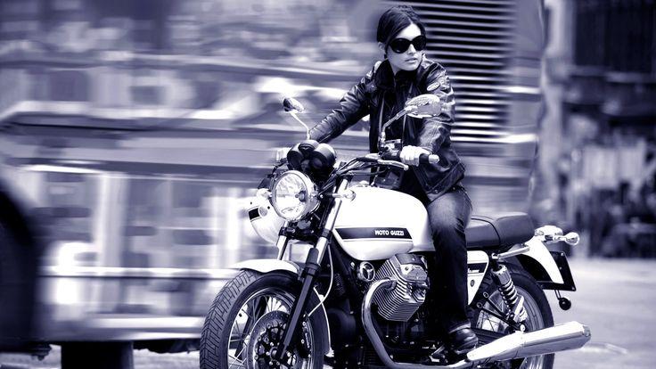 Moto Guzzi V7 Girl Wallpaper 1920x1080