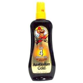Australian Gold Bronceador Muy Resistente Al Agua En Gel Con Formula De Zanahoria Spf 4  237 Ml. Este producto ayuda a prevenir las quemaduras de sol, dando una mínima protecciónpara alcanzar un bronceado hermoso. Es muy resistente al agua y al sudor.