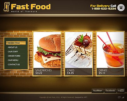 Fast Html Templates Fast Food web template - Easy flash Price - $33 | Flash website templates | Pinterest