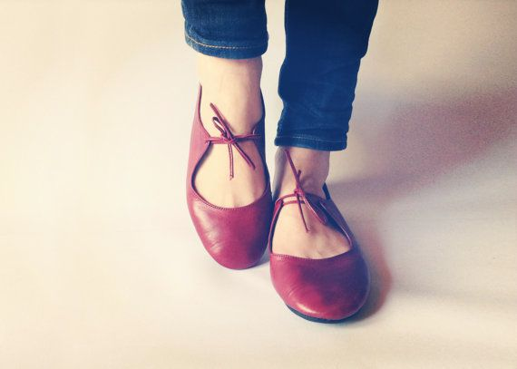 I remember my first pair of red shoes. They were flats like this. I love red shoes. Passion  Deep Red handmade ballet flats  by TheDrifterLeather, €87.00