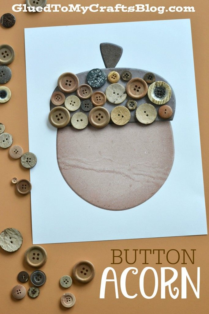 Button Acorn Kid Craft w/free printable template