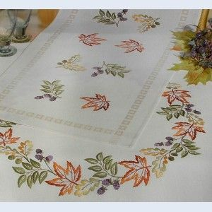 String of Leaves - tablecloth - printed long stitch kit - Rico Design