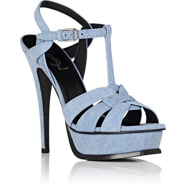Saint Laurent Women's Tribute Denim Platform Sandals ($995) ❤ liked on Polyvore featuring shoes, sandals, blue strappy sandals, open toe sandals, t strap shoes, blue denim sandals and strappy high heel sandals