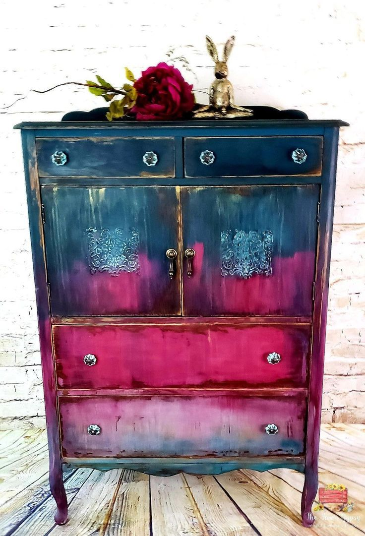 teal and pink antique cabinet – Salvabrani – #Anti…