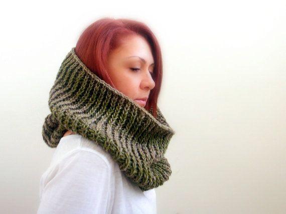 Green khaki cowl neck warmer infinity scarf women by Kikoa on Etsy, $48.00