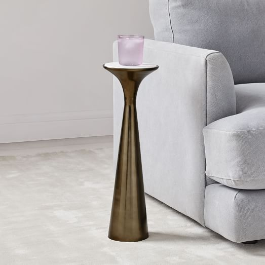 Cube C-Side Table - White/Gray Marble | Drink table ...