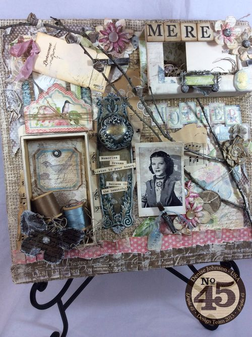 Surprise your Mom for Mother's Day with an altered canvas just for her! By: Denise Johnson Using: Botanical Tea & G45 Staples #graphic45