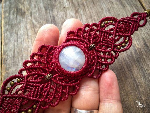 Macrame Bracelet boho chic bohemian jewelry by Mariposa - Custom order with round stone - ethnic chic micro macramé tribal