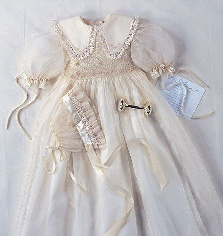 CHRISTENING GOWN PATTERN / Heirloom Smocked Dress and Pleated Bonnet / Sizes newborn-Small-Medium or Large-Extra Large / Vogue 1755. $12.99, via Etsy.