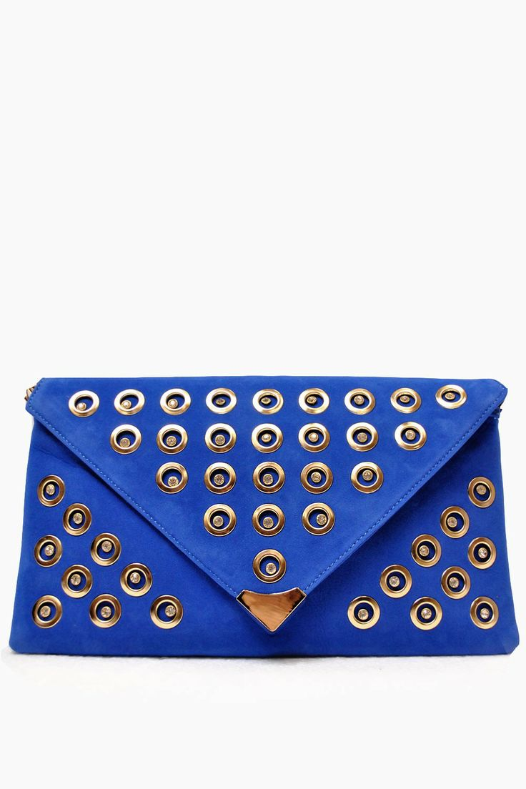 "Size: 13.5"" Wide x 8"" High. Colour: Blue Top Zipped closure. Detachable Chain Shoulder Strap. Lined with internal pockets  Jill Blue Embellished Envelope Clutch Bag"