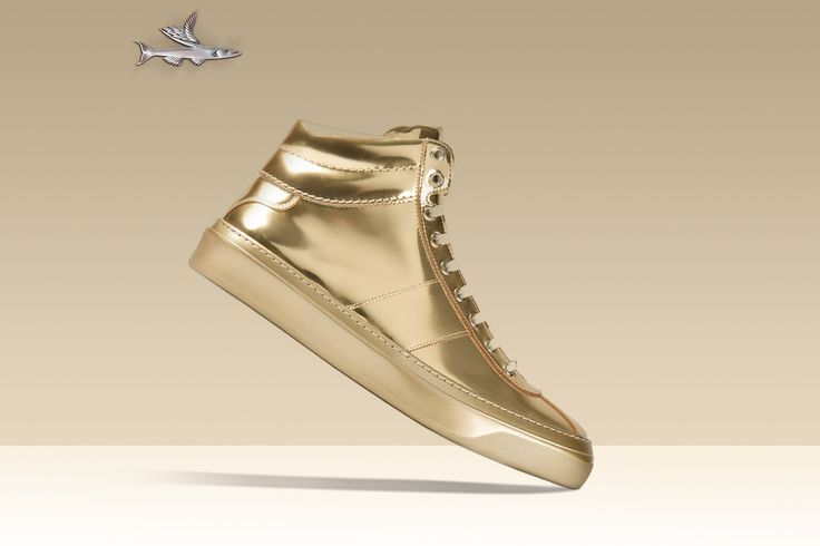 Fashion Brand Designer Shoes BSBrothers Gold Hi-Top Sneakers.