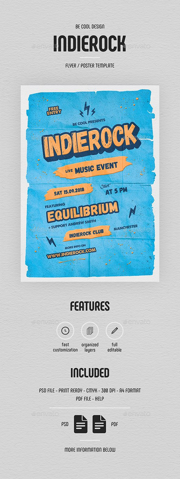 Indie Flyer/Poster — Photoshop PSD #brush #flyer • Download ➝ https://graphicriver.net/item/indie-flyerposter/21449952?ref=pxcr