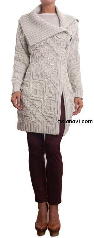 Женское вязаное пальто спицами от Ballantyne