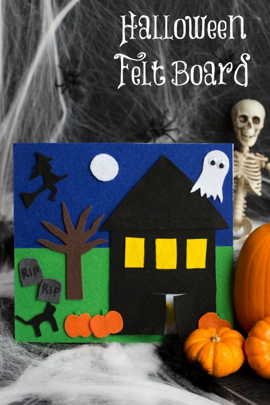 DIY felt board - Let your kids be creative and tell spooky stories, or just rearrange the pieces for fun