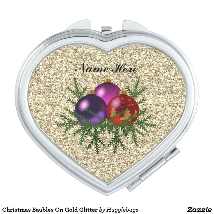 Christmas Baubles On Faux Gold Glitter