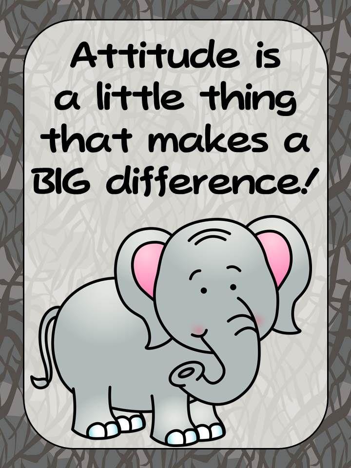 Freebie- Zoo Animal Theme Elephant Positive Inspirational Quote Poster