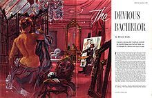 """Roald Dahl's """"The Devious Bachelor"""" was illustrated by Frederick Siebel when it was published in Collier's (September 1953)."""