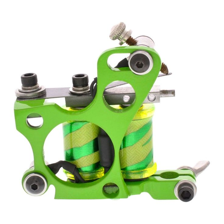 "Painful Irons Green 6 Hole Custom Shader Tattoo Machine Zebra Print Coils 1.25"" 8W"