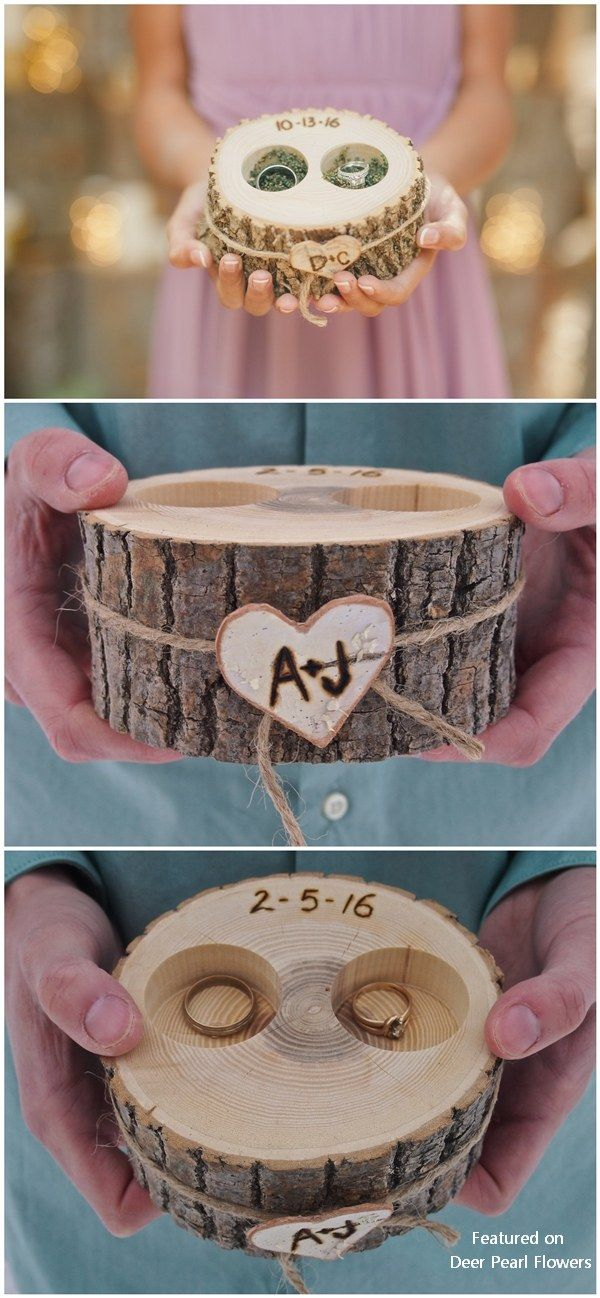 Personalized Rustic Country Tree Stump Wedding Ring Holder Idea #weddings #rusti…
