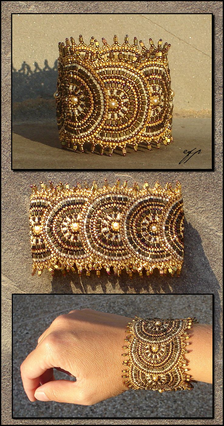 Aurum Solis by Ellygator - This cuff bracelet is done in brick stitch, started with a fan around one side of the seed bead then added one half sun-disk after the other. braceletdeviantart.com on @deviantART: