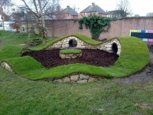 miniature Hobbiton play area - 6 ton stone, 1 ton sand, 4 bags cement, 1 ton bark chips, 2 large plastic pipes plus turf