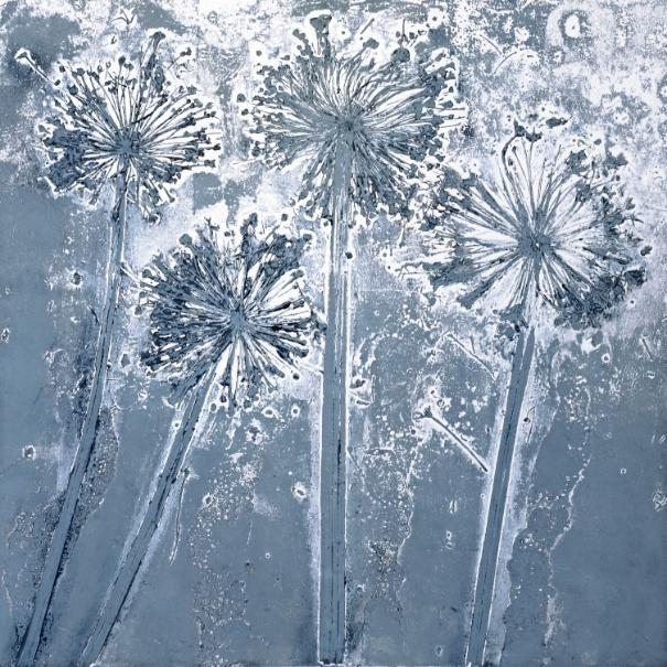 """Four Giant Aliums"" collagraph by Niyati Barlow. http://easelles.co.uk/niyati.php. Tags: Linocut, Cut, Print, Linoleum, Lino, Carving, Block, Woodcut, Helen Elstone,  Plants, Seed heads."