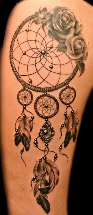 rose flower dreamcatcher feather tattoo