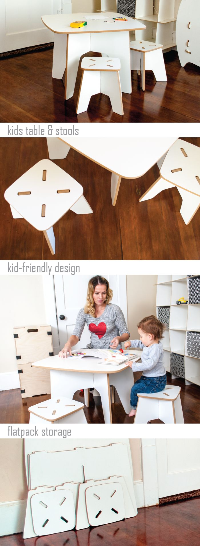 The foldable table and stools is a great way to get the most out of your toddler playroom space.