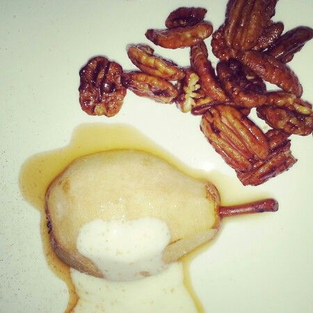 Honey glazed pears with vanilla yogurt and toasted pecans