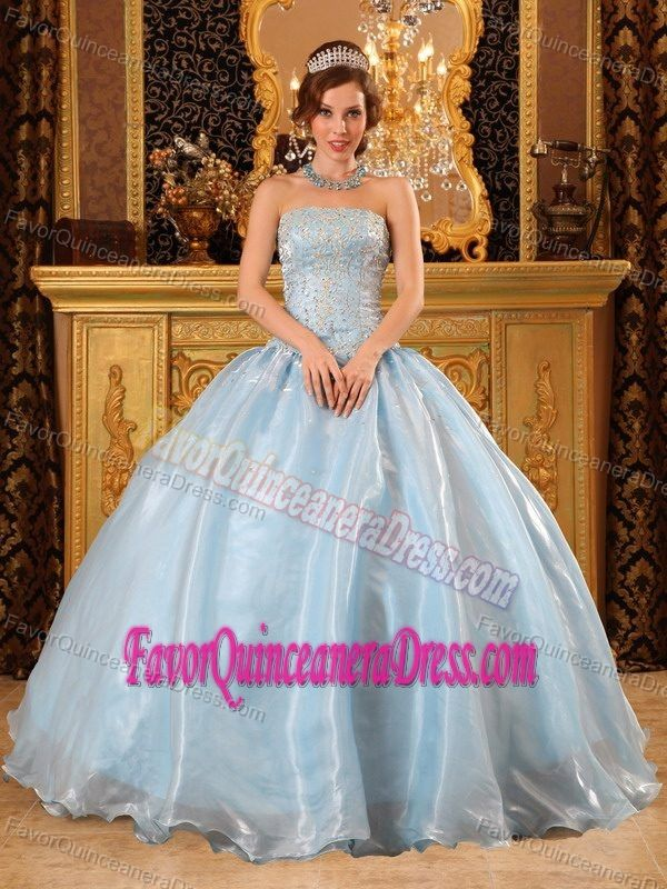 Strapless Floor-length Quinceanera Gown Dresses in Organza with Appliques
