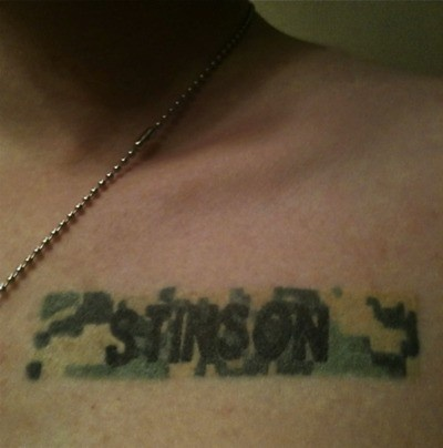 """i love this army tat: """"I got this Tattoo after my twin brother died. He committed suicide after three tours in the Middle East with the US Army. I had his name badge tattooed right where I put my hand over my heart for the Pledge of Allegiance. Every pledge is a tribute to his service and sacrifice."""" AMAZING"""