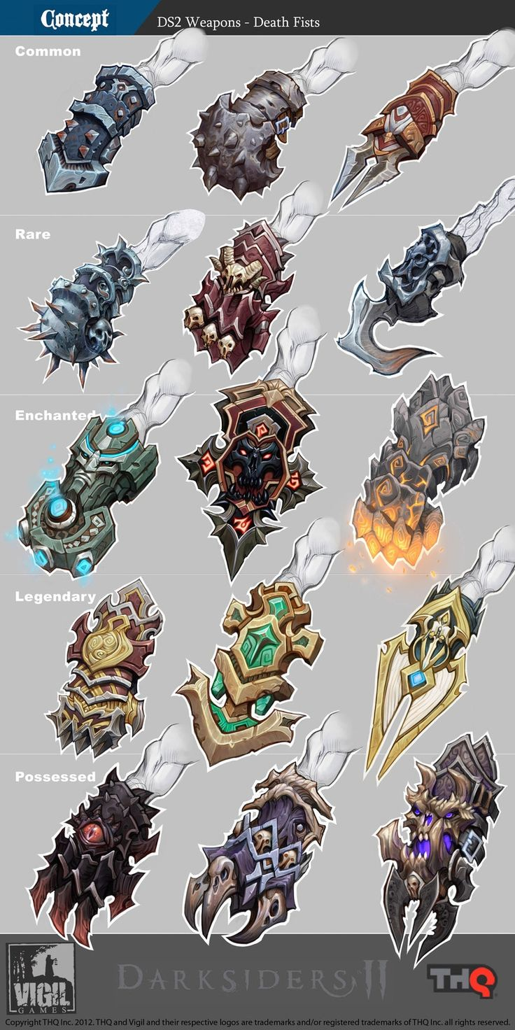 Concept art of Fist Weapons from Darksiders 2 by Jonathan Kirtz
