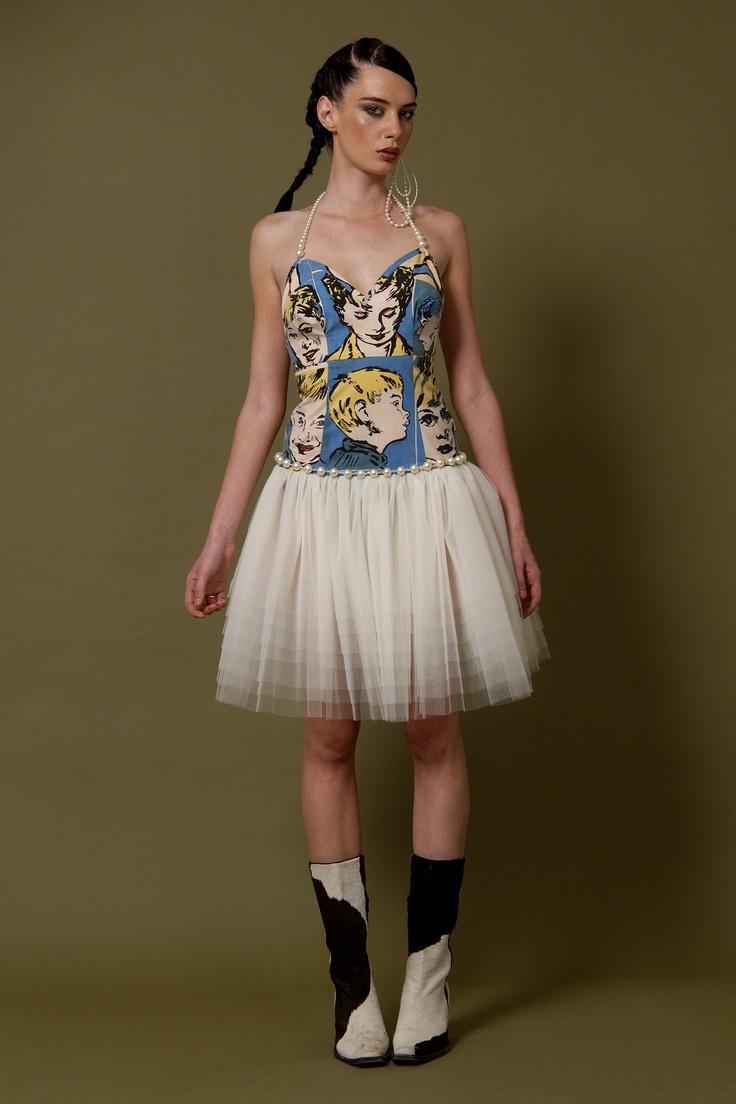 Model Wears My 'Lotus', Bromley Print with Tulle & Swarovski Glass Pearled Halterneck Dress...